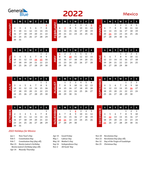 Download Mexico 2022 Calendar