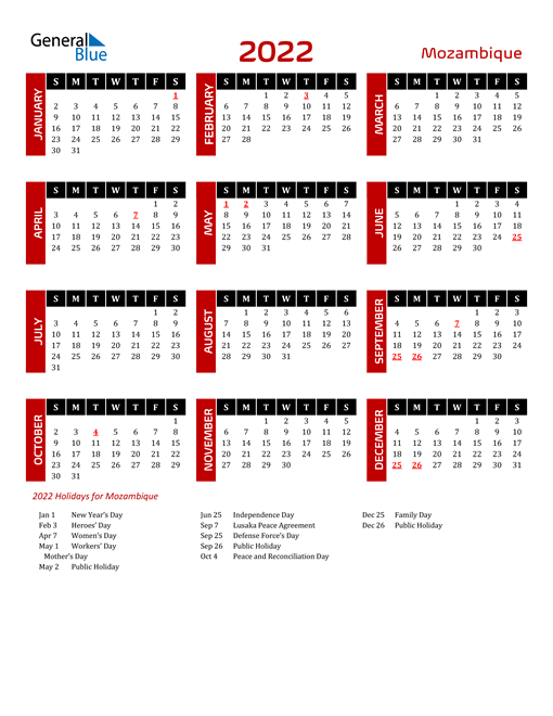 Download Mozambique 2022 Calendar