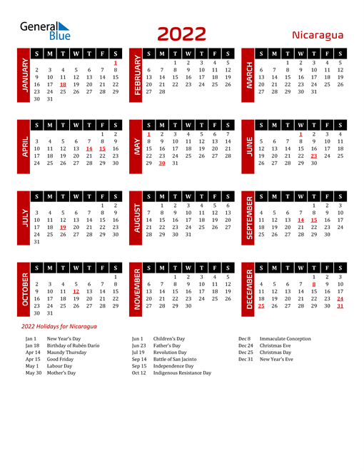 Download Nicaragua 2022 Calendar