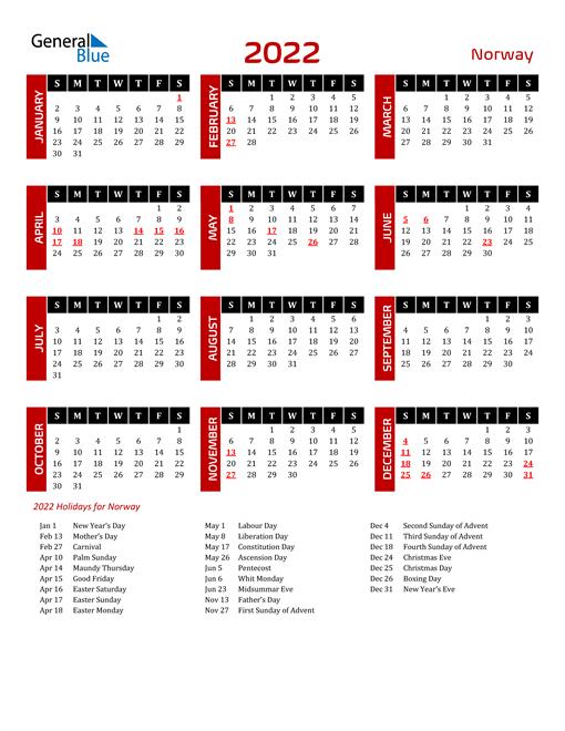Download Norway 2022 Calendar