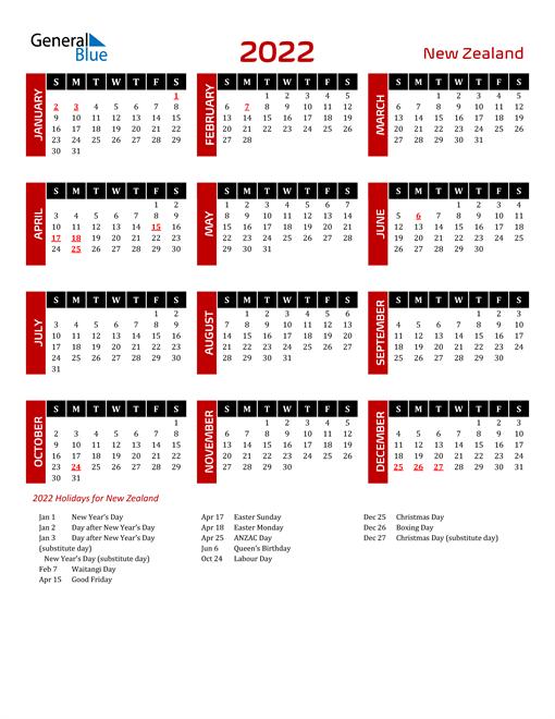 Download New Zealand 2022 Calendar