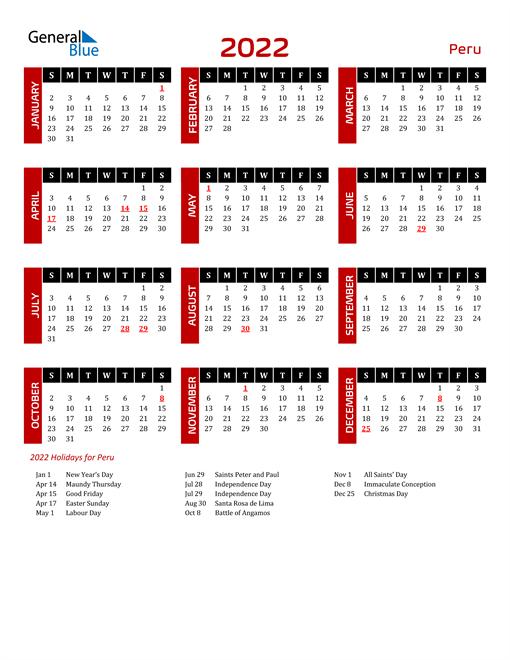 Download Peru 2022 Calendar