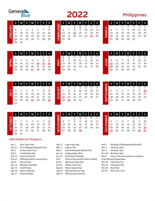 Download Philippines 2022 Calendar