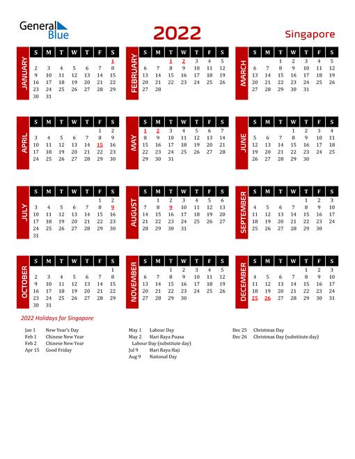 Download Singapore 2022 Calendar