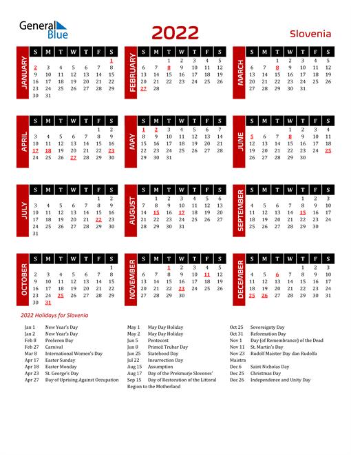 Download Slovenia 2022 Calendar