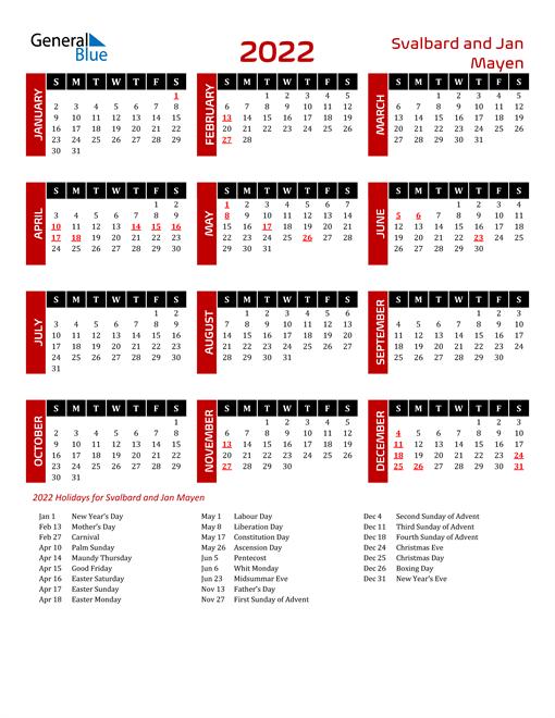 Download Svalbard and Jan Mayen 2022 Calendar