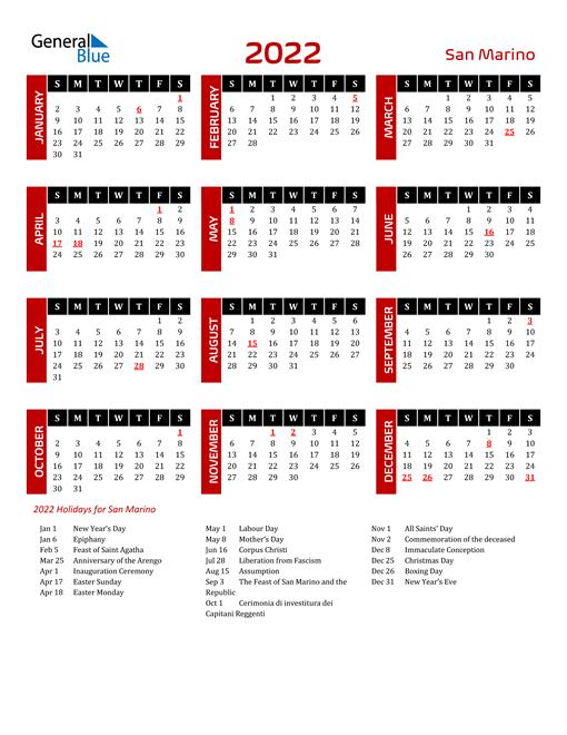 Download San Marino 2022 Calendar