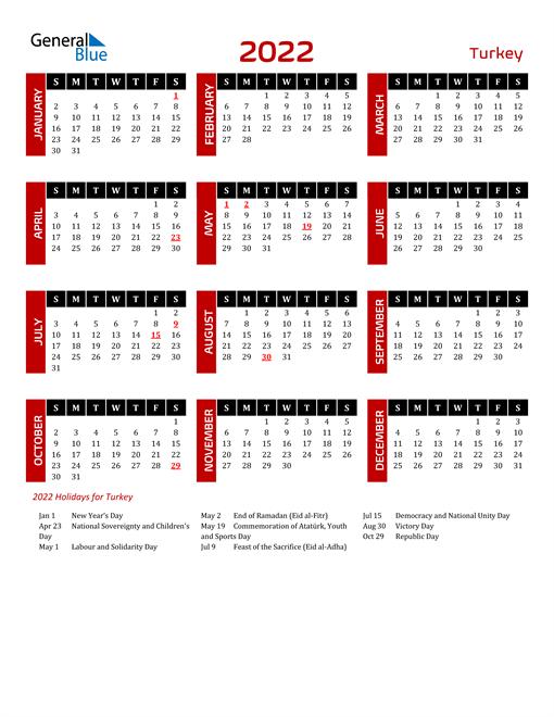 Download Turkey 2022 Calendar