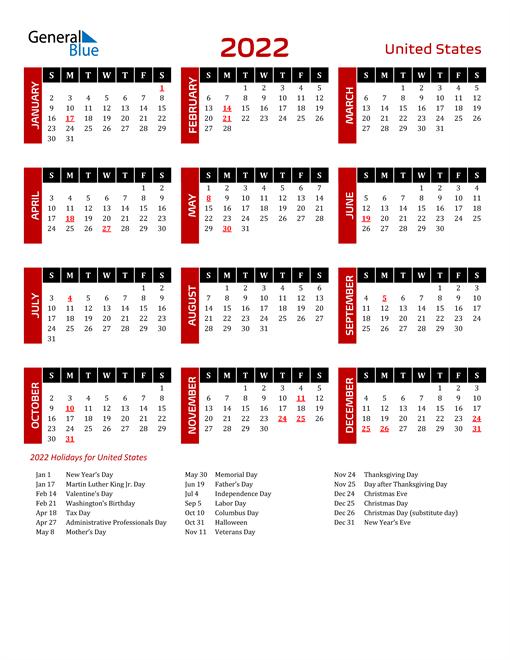 Download United States 2022 Calendar