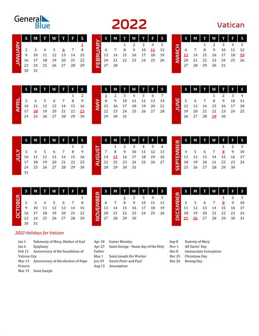 Download Vatican 2022 Calendar