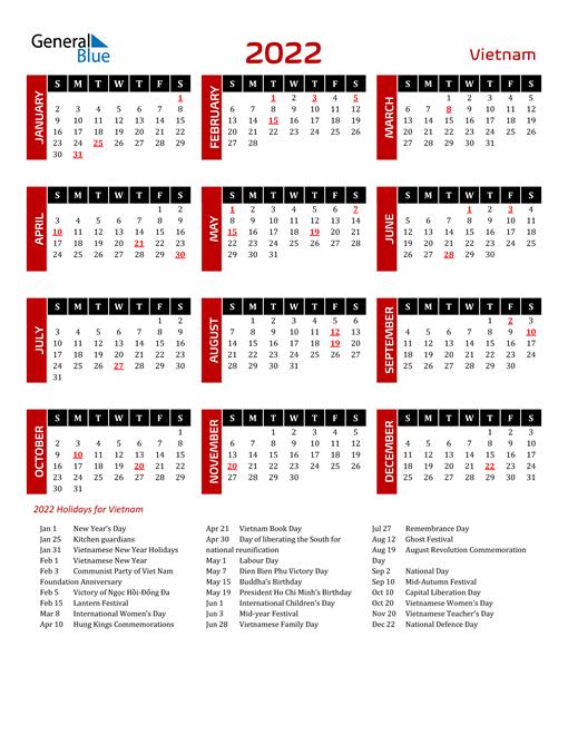 Download Vietnam 2022 Calendar