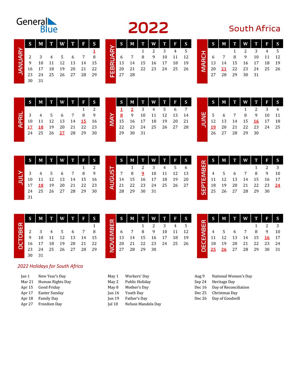 2022 South Africa Calendar With Holidays