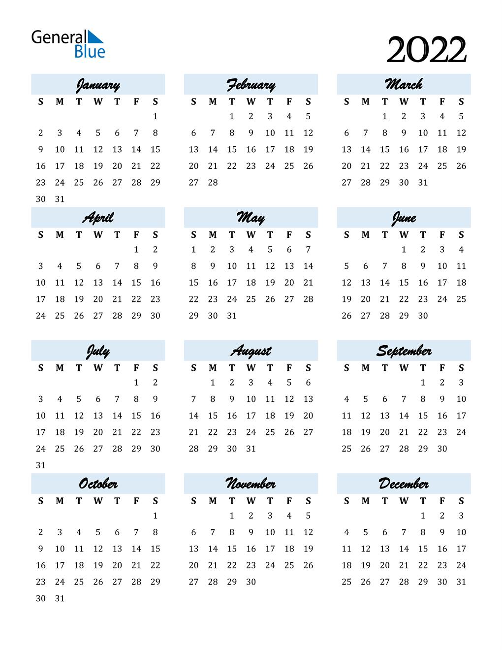 Free 2022 Calendar By Mail.2022 Calendar Pdf Word Excel