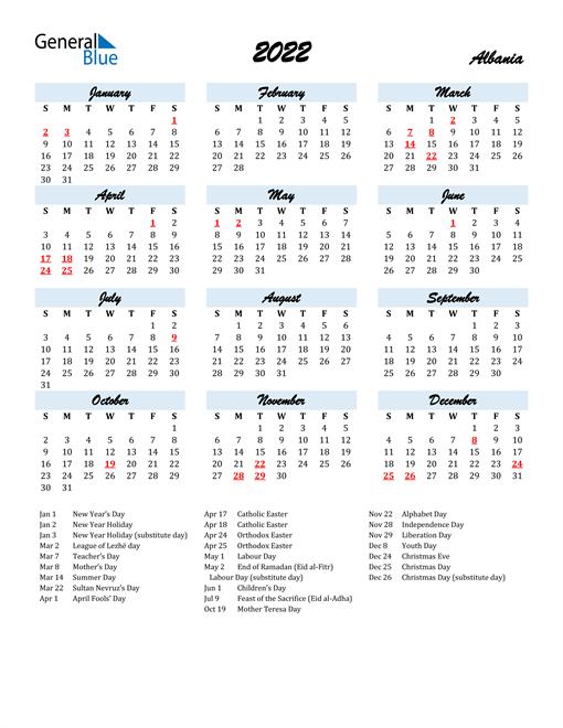 2022 Calendar for Albania with Holidays