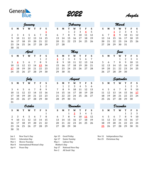 2022 Calendar for Angola with Holidays