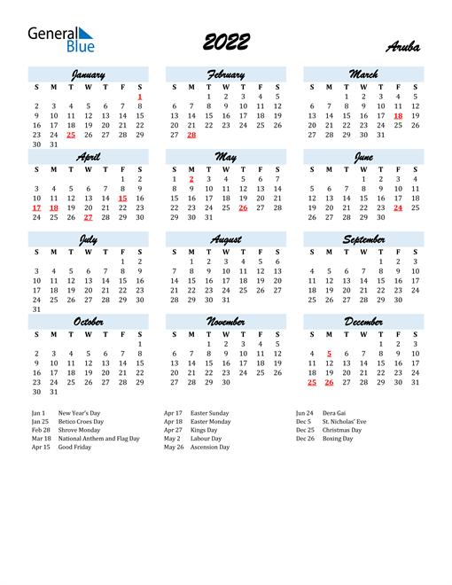 2022 Calendar for Aruba with Holidays