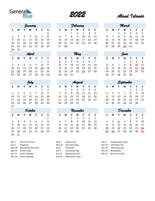 2022 Calendar for Aland Islands with Holidays