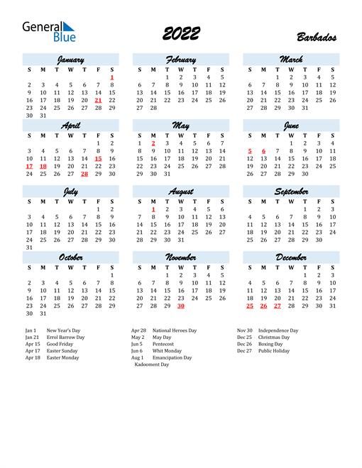 2022 Calendar for Barbados with Holidays