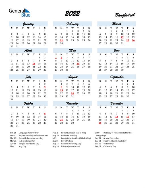 2022 Calendar for Bangladesh with Holidays