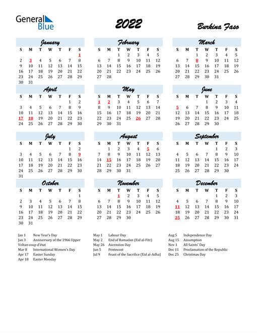 2022 Calendar for Burkina Faso with Holidays