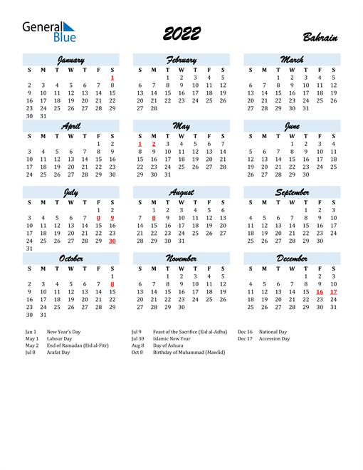 2022 Calendar for Bahrain with Holidays