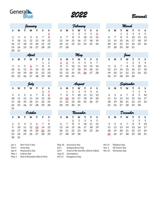 2022 Calendar for Burundi with Holidays