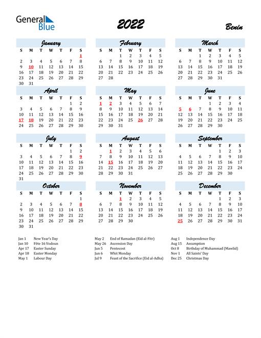 2022 Calendar for Benin with Holidays