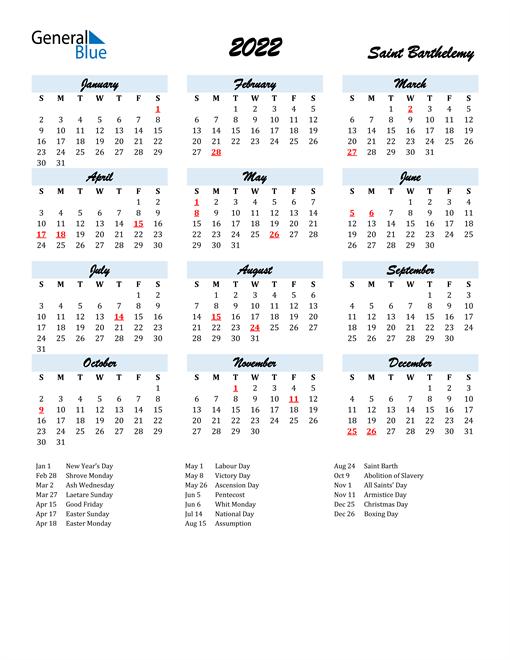 2022 Calendar for Saint Barthelemy with Holidays