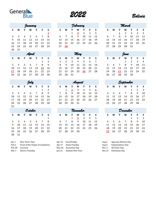 2022 Calendar for Bolivia with Holidays