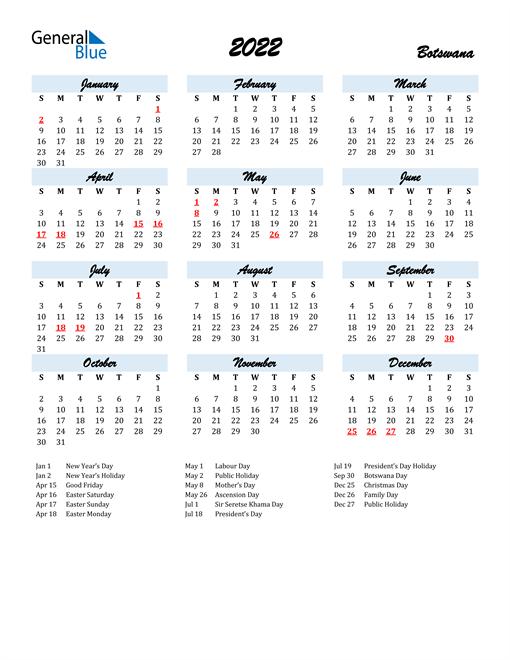 2022 Calendar for Botswana with Holidays
