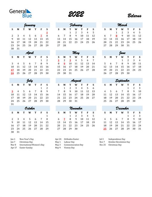 2022 Calendar for Belarus with Holidays
