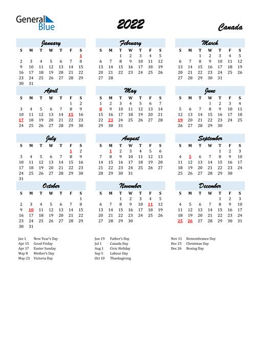 2022 Calendar for Canada with Holidays