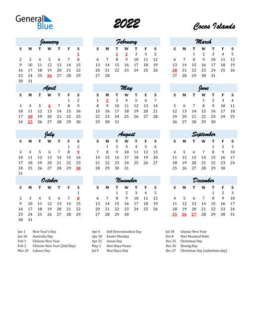 2022 Calendar for Cocos Islands with Holidays