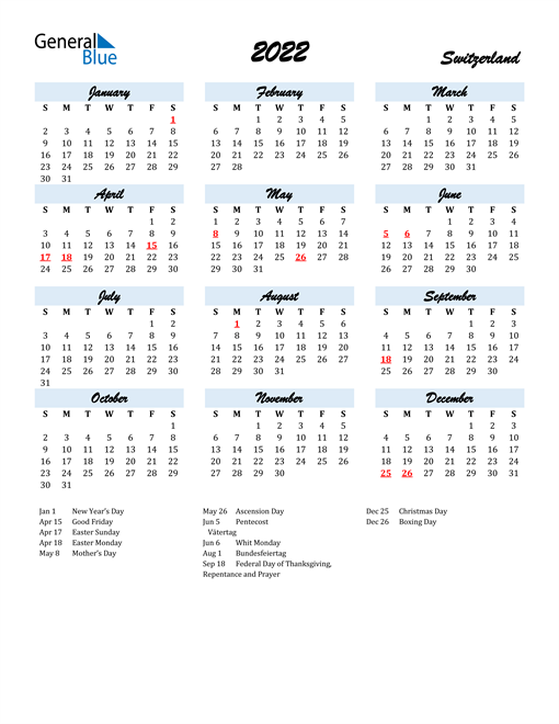 2022 Calendar for Switzerland with Holidays