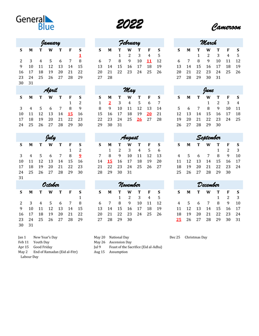 2022 Calendar for Cameroon with Holidays