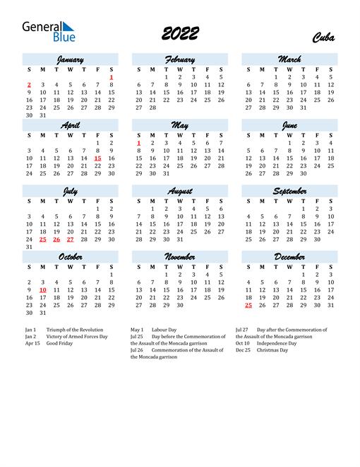 2022 Calendar for Cuba with Holidays