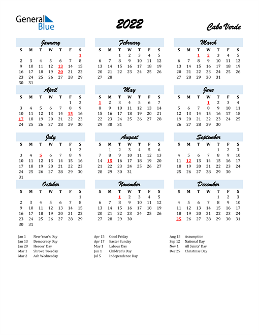 2022 Calendar for Cabo Verde with Holidays
