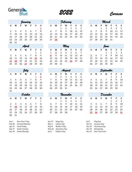 Image of 2022 Calendar in Script for Curacao