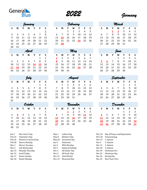 2022 Calendar for Germany with Holidays