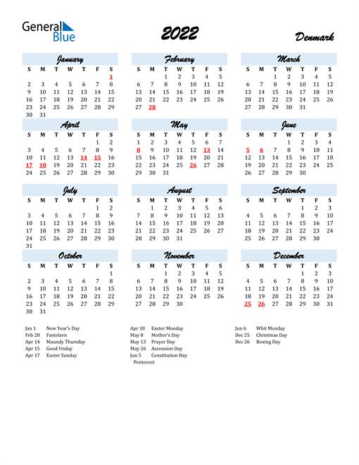 2022 Calendar for Denmark with Holidays