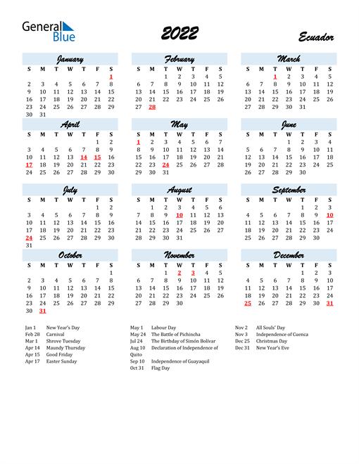 2022 Calendar for Ecuador with Holidays