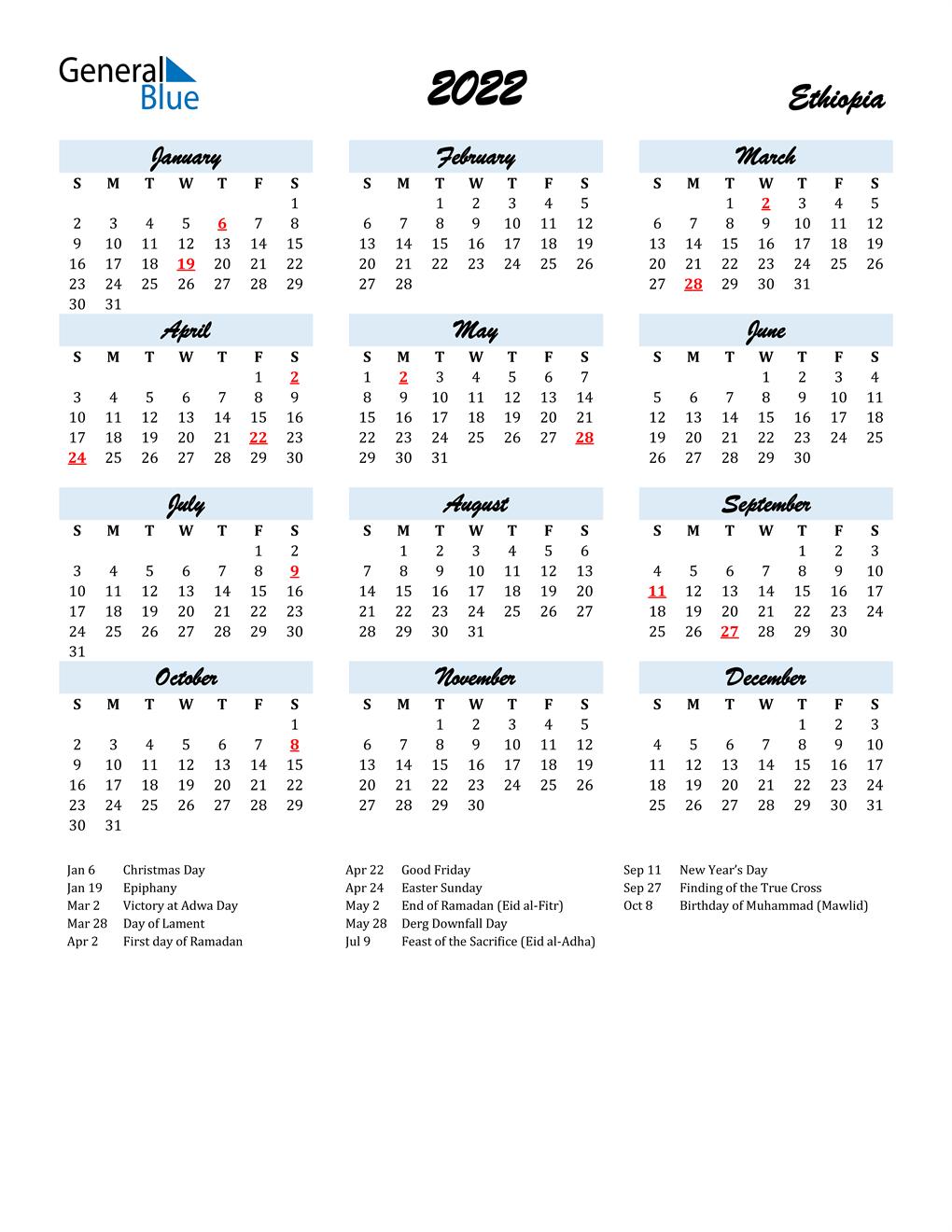 Ethiopian Calendar 2022.2022 Ethiopia Calendar With Holidays