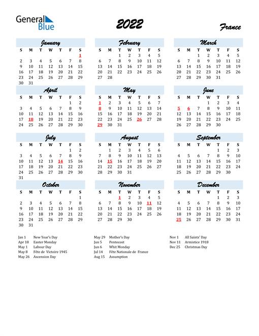 2022 Calendar for France with Holidays