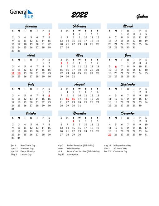 2022 Calendar for Gabon with Holidays