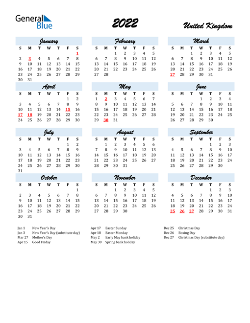 2022 Calendar for United Kingdom with Holidays