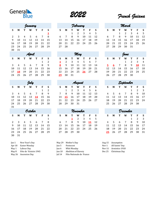 2022 Calendar for French Guiana with Holidays