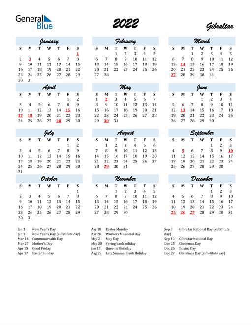 2022 Calendar for Gibraltar with Holidays