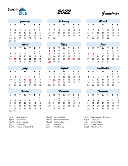 2022 Calendar for Guadeloupe with Holidays