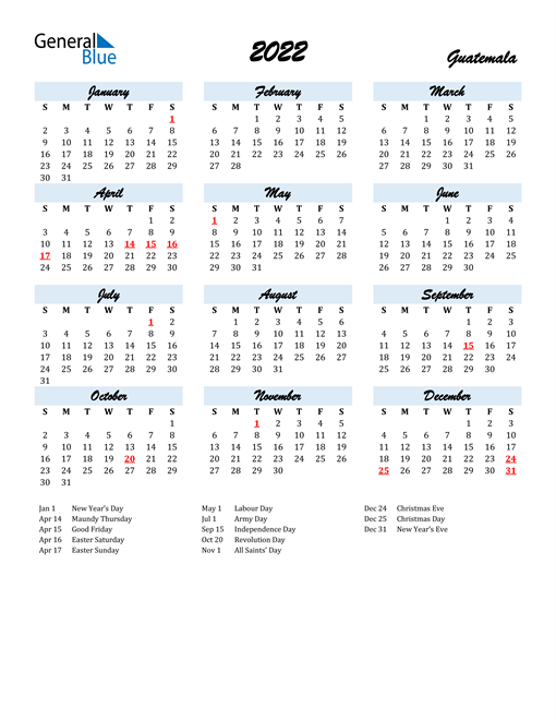 2022 Calendar for Guatemala with Holidays