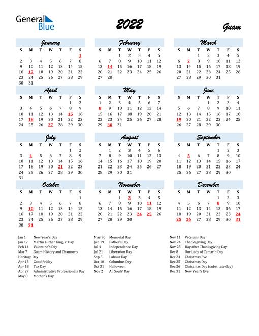 2022 Calendar for Guam with Holidays